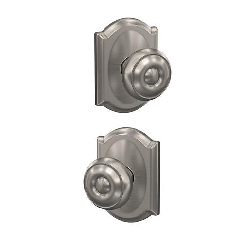 Custom Georgian Knob with Camelot Trim Hall-Closet and Bed-Bath Lock - Satin Nickel