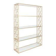 Hammered Gold Leaf Etagere W. Clear Glass SHELVES.