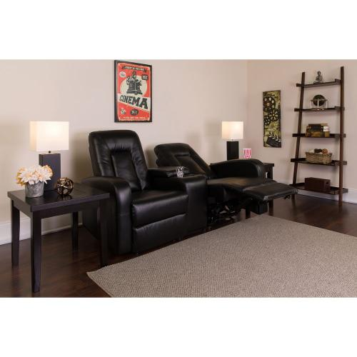 Alamont Furniture - 2-Seat Reclining Black Leather Theater Seating Unit with Cup Holders