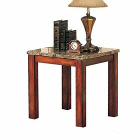 ACME Bologna End Table - 07373B - Brown Marble & Brown Cherry