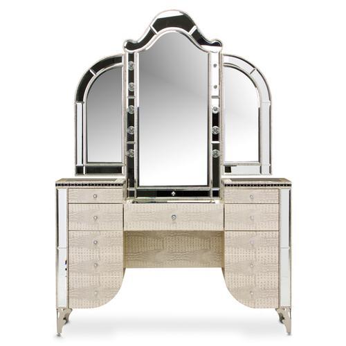 Amini - Upholstered Vanity Desk W/mirror (2pc)