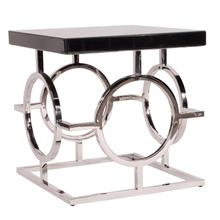 See Details - Stainless Steel Side Table With Black Top