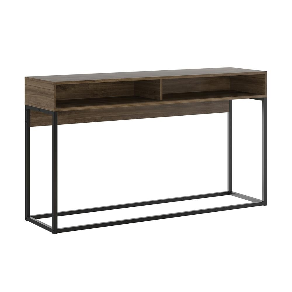 The Noa Console Table Part Of Our Kd Collection In Dark Brown Oak Melamine With Black Painted Metal Frame