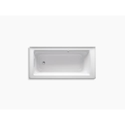 """White 66"""" X 32"""" Alcove Bath With Bask Heated Surface, Integral Apron, Integral Flange, and Left-hand Drain"""