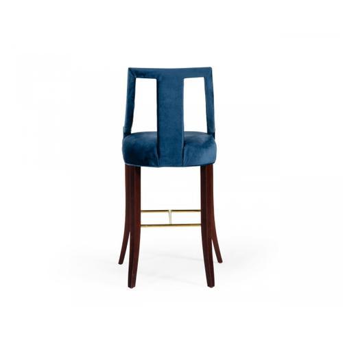 Gallery - Modrest Kimball - Glam Blue Velvet Bar Stool