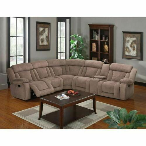 ACME Kylie Sectional Sofa (Motion) - 53880 - Tan Fabric