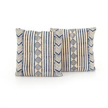 "20x20"" Size Faded Blue Diamond Pillow, Set of 2"