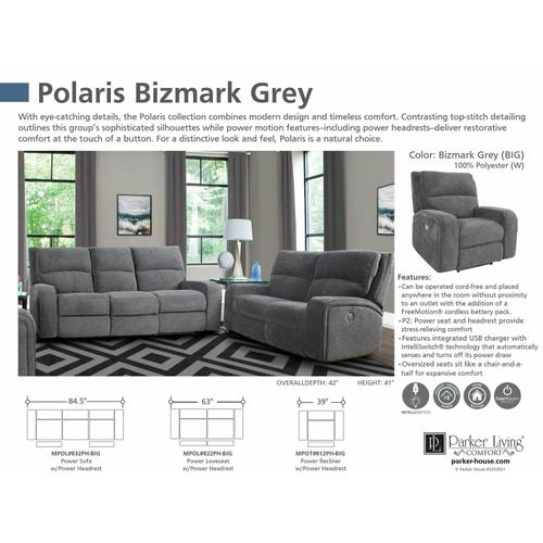 Parker House - POLARIS - BIZMARK GREY Power Loveseat