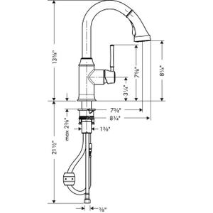 Rubbed Bronze Prep Kitchen Faucet, 2-Spray Pull-Down, 1.75 GPM