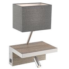 See Details - Wall Lamp, Wood/bn/grey Fabric Shd, W/usb Port, A 60w&led 3w