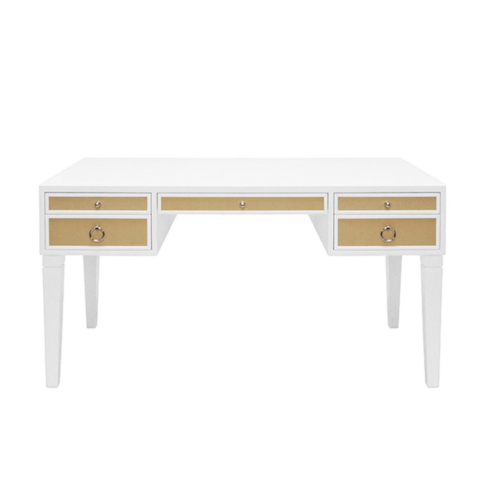 Some May Say the Heidi Desk Was Designed Solely To Revive the Lost Art of Penmanship - But Whether You Use It for Writing Letters or Emailing Them, You'll Love the Exquisite Luxe Tailoring In Any Contemporary Home Office. Contrasting Natural Grasscloth Drawers Add an Organic Feel To This Timeless, Matte White Lacquer Frame. Polished Nickel Hardware Completes the Look.