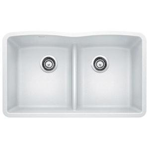 Diamond Equal Double Bowl With Low Divide - White