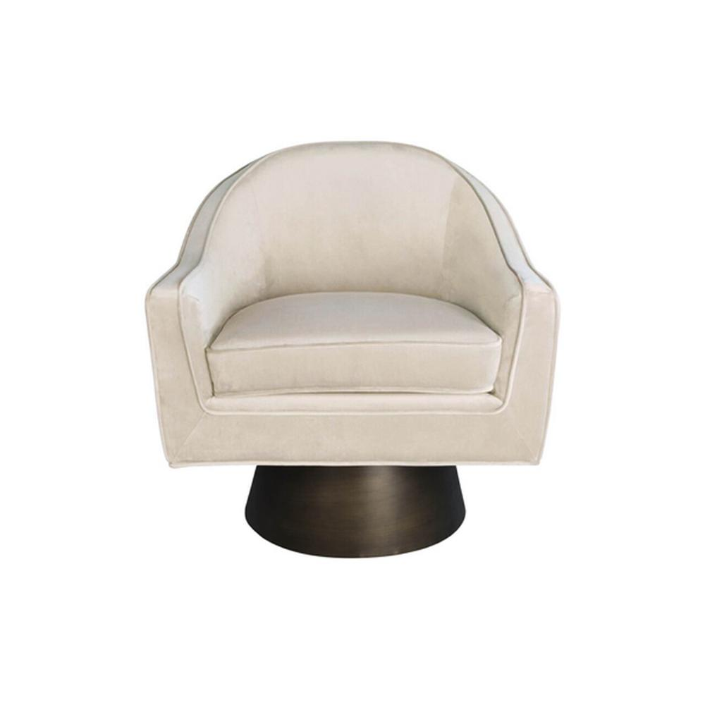 This Bold, Barrel Back Swivel Chair Will Steal the Show. Offered In Luxe Cream Velvet With A Brushed Bronze Base, Our Dominic Occasional Chair Is Perfect for Your Deco Moderne or Mid Century Interior.