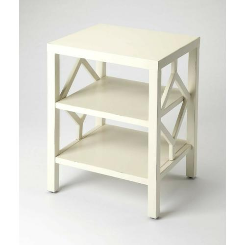 Butler Specialty Company - Add this understated modern end table as a chairside companion in the living room or office, or as a nightstand in the bedroom. Featuring a white finish and a three tier design for convenient storage, it is crafted from bayur wood solids and wood products with diamond side panels.