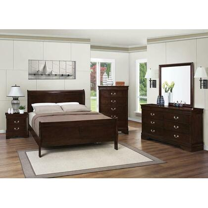 See Details - Louis Philippe Cappuccino Queen Sleigh Bed