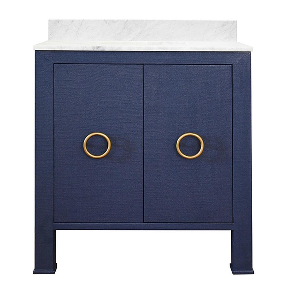 Bath Vanity In Textured Navy Linen W/ Ant. Brass Hardware, White Marble Top, and Porcelain Sink