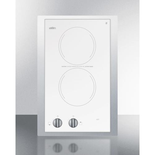 """115v European Two-burner Radiant Cooktop In White Glass With Stainless Steel Frame To Allow Installation In 15"""" Wide Counter Cutouts"""