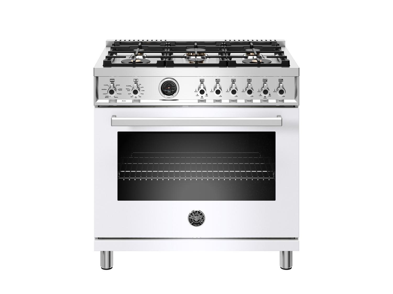 Bertazzoni36 Inch Dual Fuel Range, 6 Brass Burner, Electric Self-Clean Oven Bianco