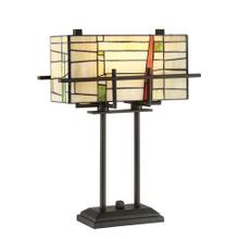 View Product - Table Lamp - Dark Bronze/tiffany Shade, E27 Type A 60wx2