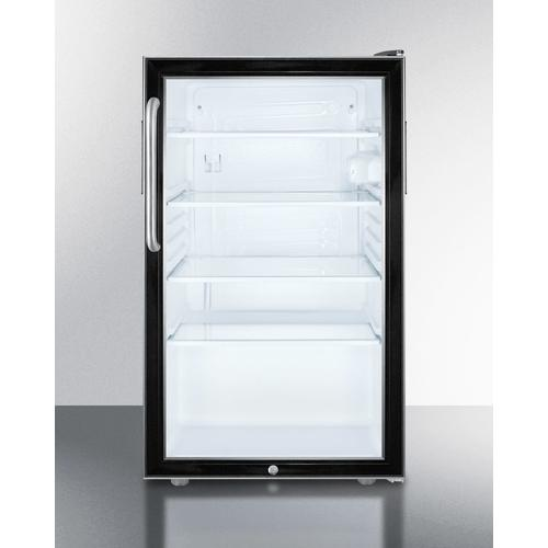 """Summit - Commercially Listed ADA Compliant 20"""" Wide Glass Door All-refrigerator for Built-in Use, Auto Defrost With A Lock and Stainless Steel Cabinet"""