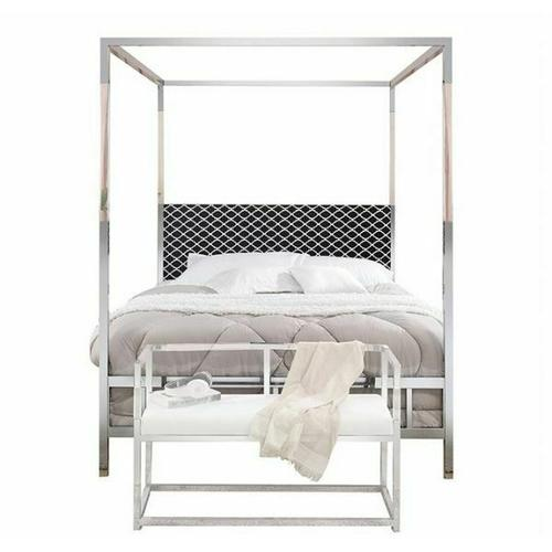 ACME Raegan Queen Bed (Canopy) - 22660Q - Fabric & Chrome