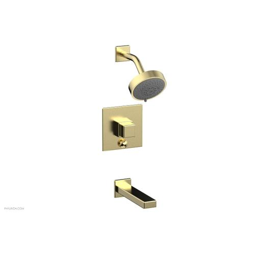 MIX Pressure Balance Tub and Shower Set - Cube Handle 290-29 - Polished Brass Uncoated
