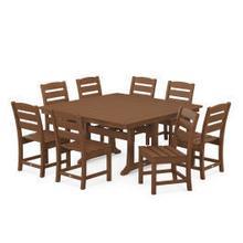 View Product - Lakeside 9-Piece Farmhouse Trestle Dining Set in Teak