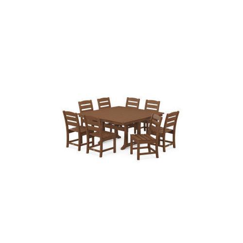 Polywood Furnishings - Lakeside 9-Piece Farmhouse Trestle Dining Set in Teak