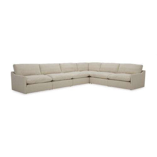 VIG Furniture - Divani Casa Fedora - Modern White Fabric Sectional Sofa + Ottoman
