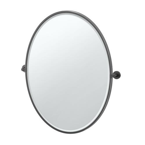 Reveal Framed Oval Mirror in Matte Black