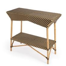 Evoking images of sidewalk tables in the Cote d'Azur, Serving Table like this will give your kitchen or patio the casual sophistication of a Mediterranean coastal bistro. Expertly crafted from thick bent rattan for superb durability, it features weather resistant woven plastic in a black and beige striped pattern. This Serving Table is lightweight for easy mobility with comfort to make the space it's in a frequent gathering place.