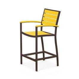 Polywood Furnishings - Eurou2122 Counter Arm Chair in Textured Bronze / Lemon