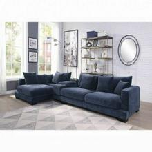 ACME Elika Sectional Sofa w/Pillows - 55205 - Contemporary - Fabric, Frame: Wood (Ply), Foam (D) - Blue Fabric