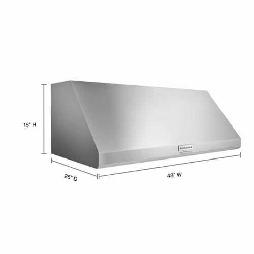 KitchenAid - 48'' 585 or 1170 CFM Motor Class Commercial-Style Wall-Mount Canopy Range Hood - Stainless Steel