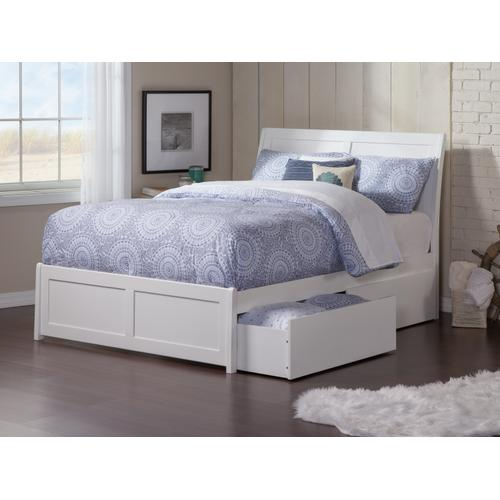 Portland Full Bed with Matching Foot Board with 2 Urban Bed Drawers in White