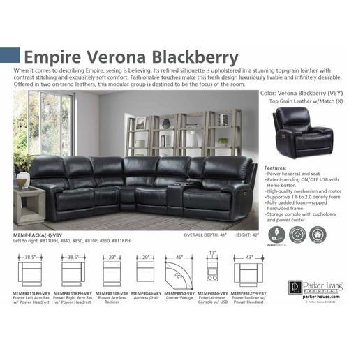 Parker House - EMPIRE - VERONA BLACKBERRY Armless Chair