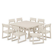 View Product - EDGE 9-Piece Farmhouse Trestle Dining Set in Sand