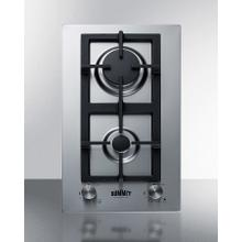 2-burner Gas Cooktop Made In Italy With Sealed Burners, Multiple Heating Outputs, A 304 Grade Stainless Steel Surface, and Continuous Cast Iron Grate