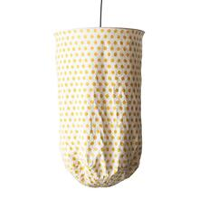 "20"" Round x 28""H Metal & Polka Dot Fabric Pendant, Yellow (150 Watt Bulb Maximum, Hardwire Only)"