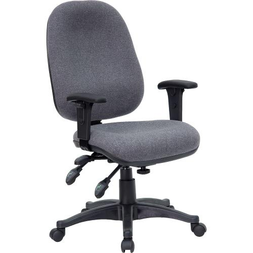 Mid-Back Multifunction Gray Fabric Executive Swivel Chair with Adjustable Arms