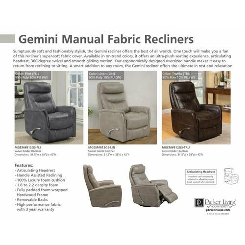 Product Image - GEMINI - FLINT Manual Swivel Glider Recliner