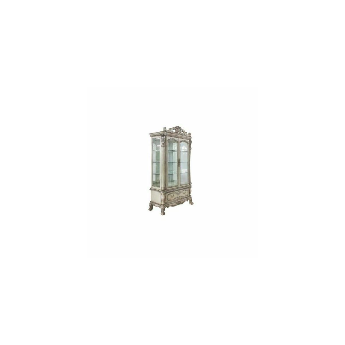 ACME Dresden Curio Cabinet - 68182 - Traditional, Vintage - Wood (Poplar), Wood Veneer, Poly-Resin, Glass, Mirror - Vintage Bone White