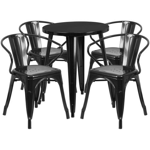 Alamont Furniture - 24'' Round Black Metal Indoor-Outdoor Table Set with 4 Arm Chairs