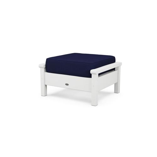 White & Navy Harbour Deep Seating Ottoman
