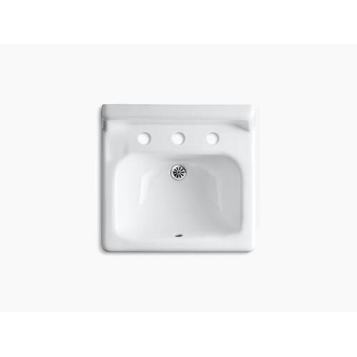 "White 20"" X 18"" Wall-mount Bathroom Sink With Widespread Faucet Holes and Lugs for Chair Carrier"