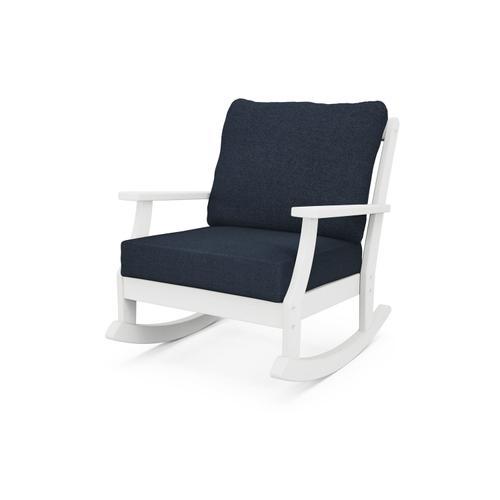 White & Marine Indigo Braxton Deep Seating Rocking Chair