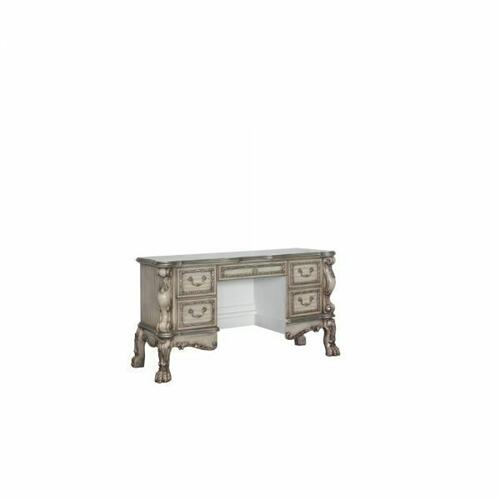 ACME Dresden Vanity Desk - 28193 - Traditional, Vintage - Wood (Poplar), MDF, Poly-Resin - Vintage Bone White