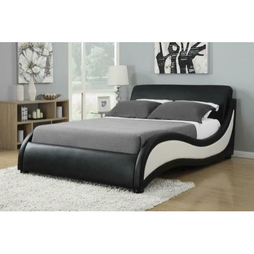 Niguel Contemporary Black and White Upholstered California King Bed