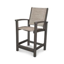View Product - Coastal Counter Chair in Vintage Coffee / Onyx Sling