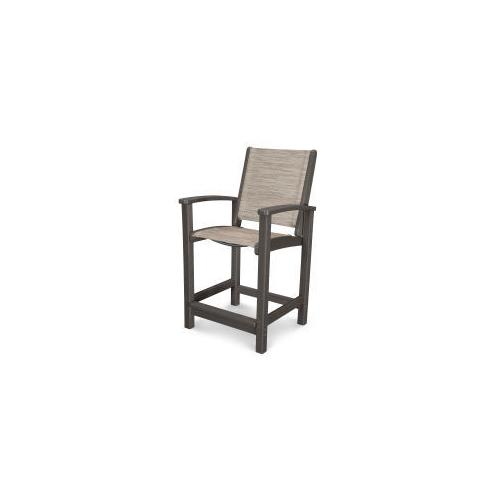Coastal Counter Chair in Vintage Coffee / Onyx Sling